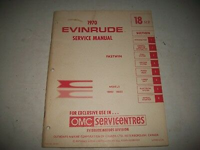 1970 Evinrude  Fastwin 18  Hp Outboard Shop Service Repair Manual # 18002 18003