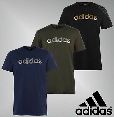 Mens Adidas Short Sleeves Crew Cotton Linear Foil T Shirt Sizes from S to XXL