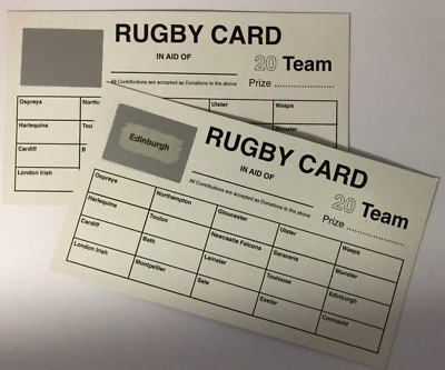 20 Team Names Rugby Scratch Card - Fundraising Sport Idea Event Charity