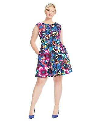 Gabby Skye Fit And Flare Dress Womens 16W Cap Sleeve Floral Multi Scuba A71-09P