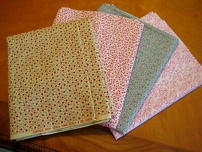 4 fat quarters  calico tiny  floral vintage quilting sewing crafts bright fabric