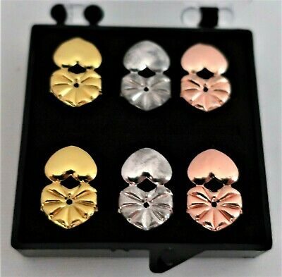 3 Pairs - Earring Backs - Lifters - Supports - Gold, Silver, Copper