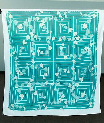 Vintage 40s/50s Green Ivy Geometric Tablecloth MCM Cool!