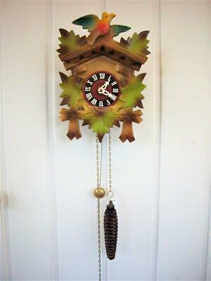 Vintage Chain-Driven Black Forest Wall Clock - Working