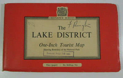 1960 Old Vintage OS Ordnance Survey One-Inch Tourist Map The Lake District