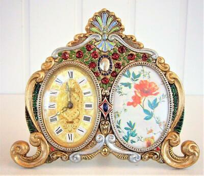 Ornate Vintage Clock With Photo Frame - Working