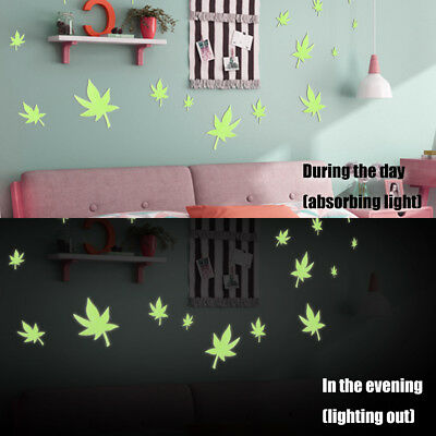 100X Glow in the Dark 3D Maple Leaf Bedroom Corridor Ceiling Wall Stickers Gift