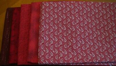 5 fat quarters quilter fabric red shade tonalities  fabric cotton OOP