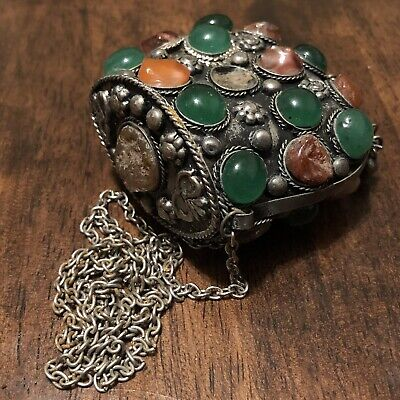 Old Antique Vintage Southeast Asian Silver Tone Box Necklace Container Gemstones