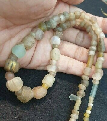Ancient Roman Egyptian Melon Glass Original Gold White Collectible Bead Necklace
