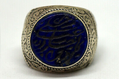 Antique Sterling Silver .925 and Natural Lapis Lazuli Hand Carved Filigree Ring