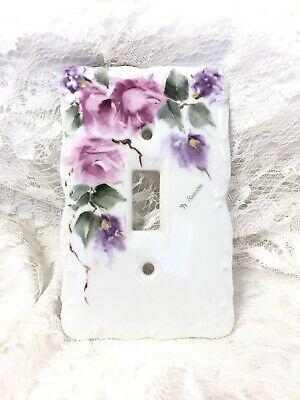 Hand Painted Porcelain Single Light Switch Cover Pink Roses Lavender Flowers 3x5