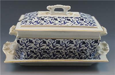 19C John Moses Glasgow Pottery Sauce Boat Under Tray Ironstone China Blue Floral