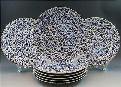 19C John Moses Glasgow Pottery Set of 8 Bread Plates Ironstone China Blue Floral