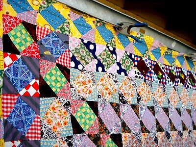 Vtg 30's 40's Five patch quilt top hand stitched weaving shuttle spool feedsack
