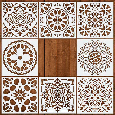 8pcs Flower Hollow Out Layering Stencils Wall Painting Stamp Album DIY