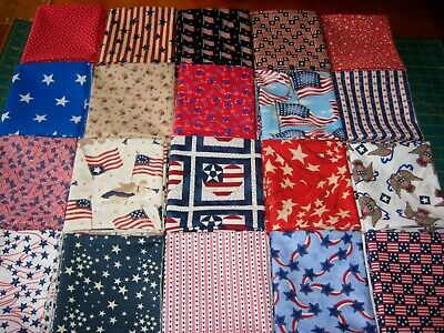 20 Patriotic USA Flags Stars stripes fat quarters quilter fabric