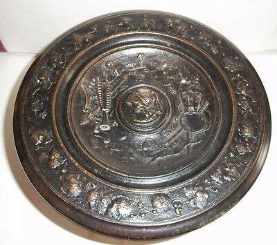 Unusual Antique  Cast Brass Blackened Ornate Tazza / 1 of 2 listed no2
