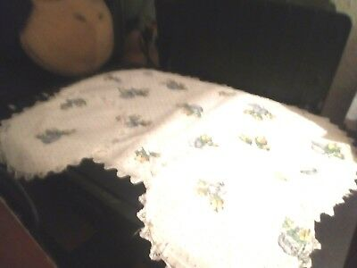 Vintage Pretty ,Floralcotton Dressing Table Set, Edged With Lace .Good Condition