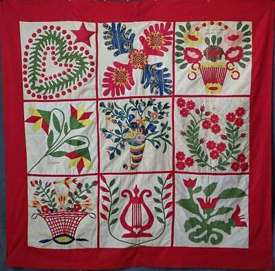Antique Dated 1847 Signed Baltimore Album QUILT Bird Floral Prussian Stuffed