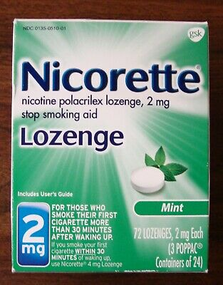 Nicorette 2 mg Lozenge Mint 72 Lozenges New Sealed Retail Box Free Shipping