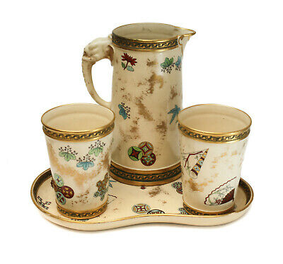 Royal Worcester Aesthetic Hand Painted Porcelain Pitcher & Tumblers, 1875