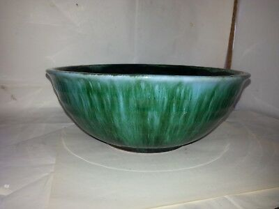 Bmp Blue Mountain Pottery Blue/Green Drip Black Glaze Serving Salad Bowl