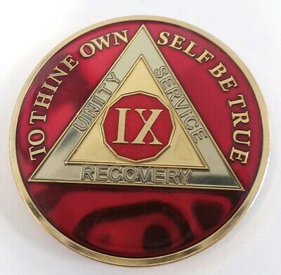 AA Guardian Angel Challenge Coin Chip  Mandarin Red Enamel Alcoholics Anonymous