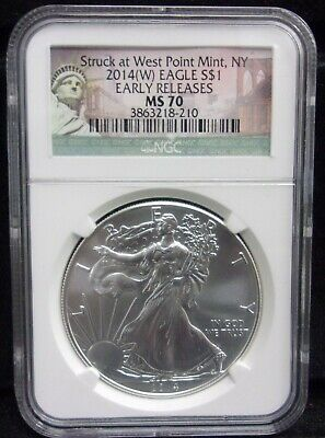 MS70 2014(W) American Silver Eagle - Early Releases - Graded NGC