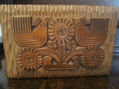 A Gorgeous Vintage Hand Carved/Crafted Scandinavian Wooden Box - Folk Art