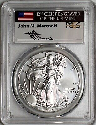 2019 W $1 Burnished Silver Eagle PCGS SP70 Mercanti Signature