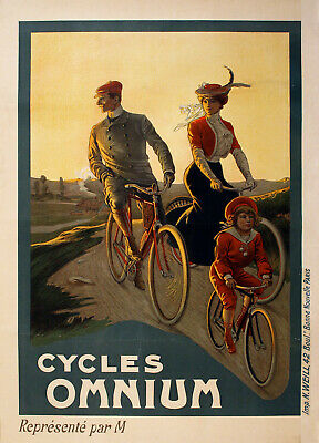 Original Vintage Bicycle Poster Cycles Omnium by Capelli c1905 Cycling Family