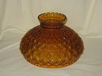 10 inch AMBER DIAMOND QUILT GLASS SHADE fits ALADDIN LAMPS, RAYO, B&H and More