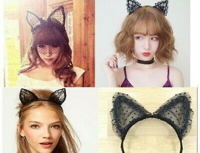 Sexy Girl's Clip Cat Ears Headband Black Lace Hairband Hair Accessories