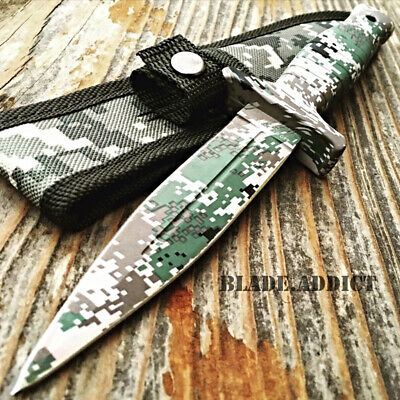 "9"" Double Edge Military Camo Tactical Hunting Dagger Boot Knife Throwing Blade-T"
