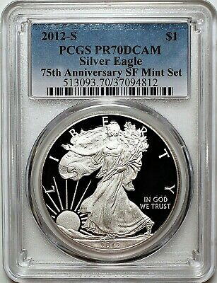 2012 S $1 Proof Silver Eagle 75th Anniversary SF Mint Set PCGS PR70 DCAM