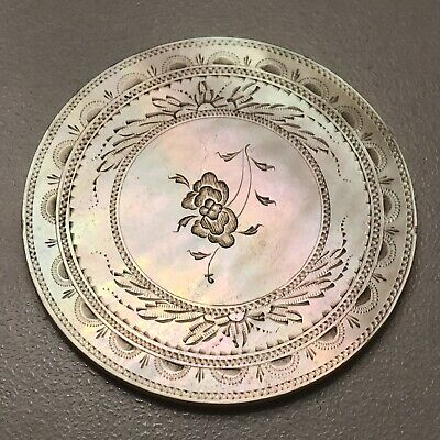 1700's Chinese Mother Of Pearl Hand Carved Gaming Chip Coin Trade Token Asian D