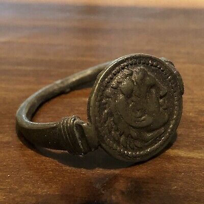 Ancient Style Greek Or Roman Coin Ring Artifact Antique Old Wax Seal Emperor B