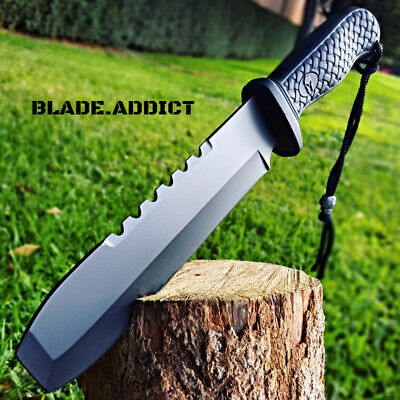 "12"" BLACK HUNTING SURVIVAL FIXED BLADE MACHETE TACTICAL Rambo Knife Sword -T"