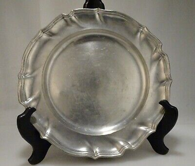 """Antique Pewter 9"""" Plate with Angel Hallmark   - 56731"""