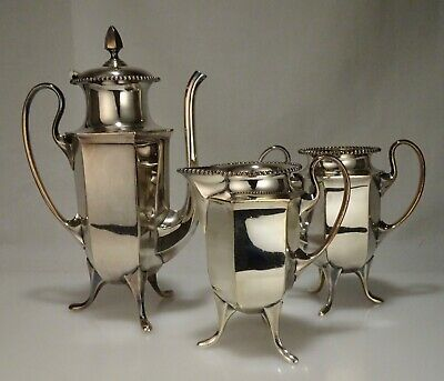 Antique James Tufts Silver Plated Coffee Pot Sugar & Creamer -  56721
