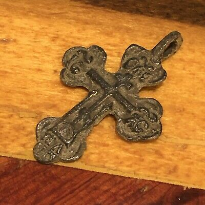 Medieval Cross Pendant Byzantine Russian Artifact Calvary Orthodox Jesus Old **