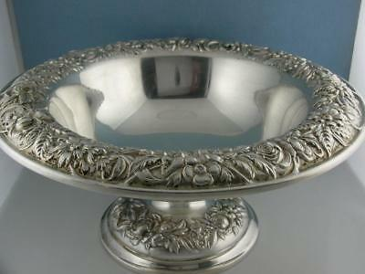 """Sterling S KIRK & SON Large 10"""" footed Center / Fruit Bowl REPOUSSE ~16.42 ozt"""