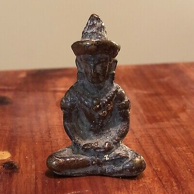Thailand Siam Asian Buddhist Artifact Monks Amulet Antique Old Talisman Temple O