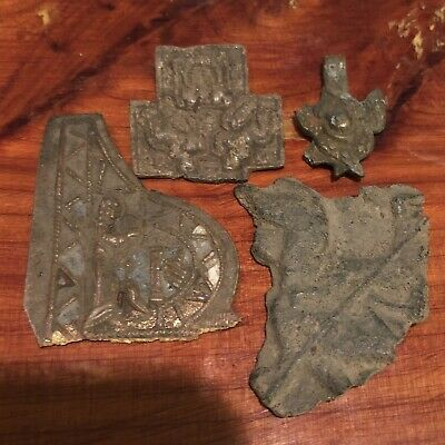 4 Medieval European Sacred Holy Relic Fragments Orthodox Christian 800-1400 AD