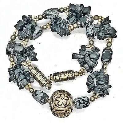Antique Southeast Asian Necklace Nepal Silver Tone Stone Beads Buddhist Old