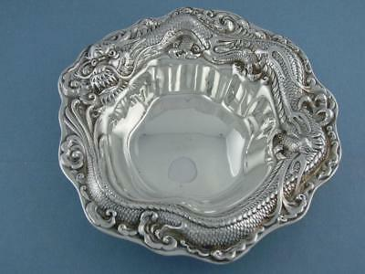 Unusual Sterling MERIDEN BRITANNIA CO Bowl / Dish w/ DRAGON ornate