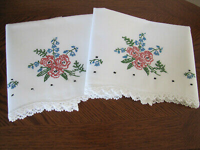 Vintage Pair of Pillowcases Embroidered & Crocheted Spray Tea Roses & Blue Bells
