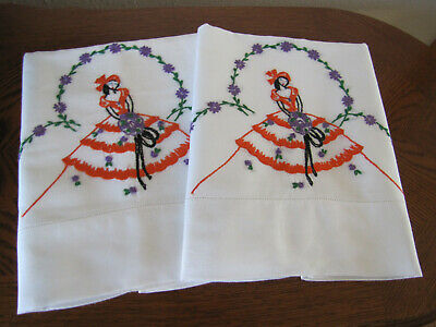 Vintage Pair of Pillowcases Embroidered Southern Belle Under A Wreath Of Asters