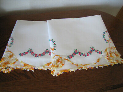 Vintage Pair of Pillowcases Embroidered Crocheted Twin Southern Belles Exquisite